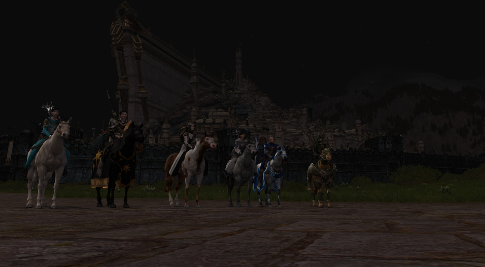 Warriors of the OOTTG stand at the ready in front of Minas Tirith